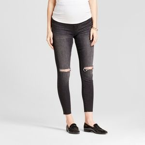 Destroyed Black Side Panel Maternity Jeggings - 2